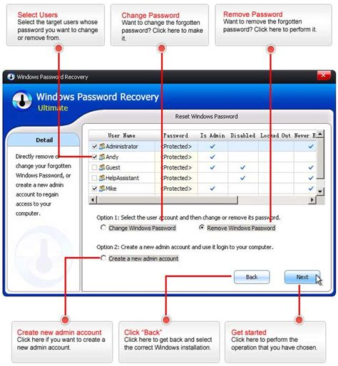 windows reset admin password tool windows password recovery tool 2018 for windows 7 8 10
