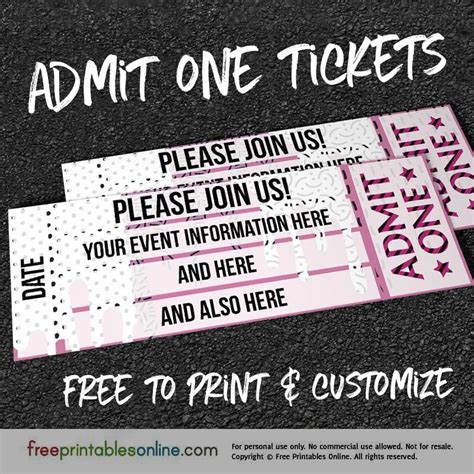 printable admit one ticket template drip drop admit one ticket template free printables online