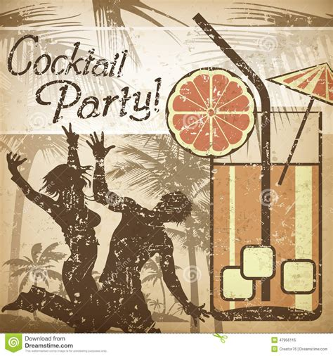 vintage cocktail party illustration cocktail party poster stock vector image 47956115