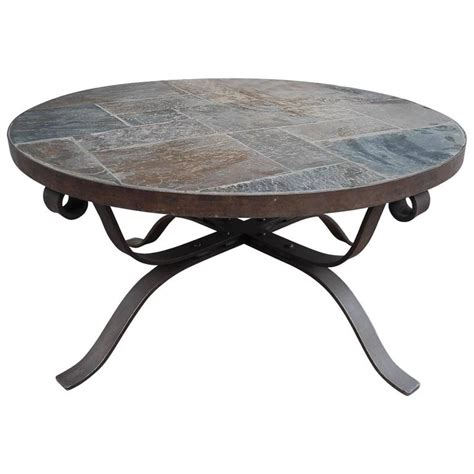 Paul Kingma Style Wrought Iron And Slate Round Coffee Slate Coffee Table