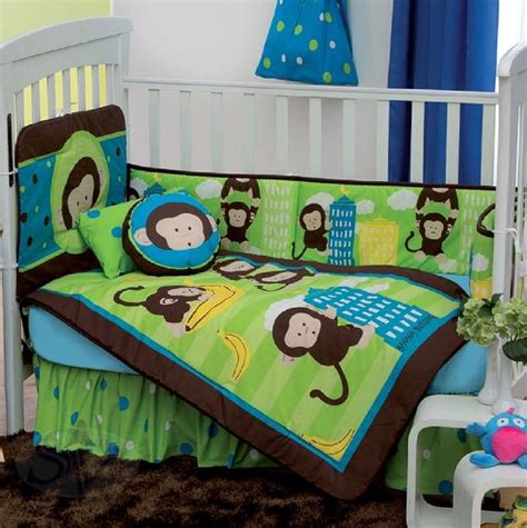 Green And Brown Monkey Crib Bedding New Baby Boys Dany Jungle Monkey Green Brown Nursery Crib Bedding Set 5 Pieces Ebay