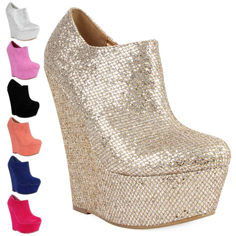 new womens fuschia pink platform wedge heel ankle