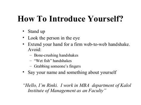 Introduce Yourself For Mba by Business Etiquettes