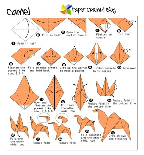 camel origami folding diagram paper origami guide