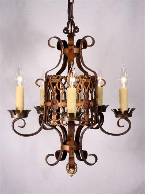 Antique Brass Chandeliers For Sale by Handsome Antique Tudor Five Light Polychrome Chandelier