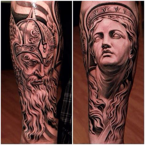 odin and greek statue tattoos by jun cha tatz