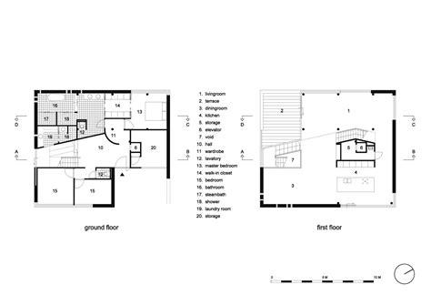 ground floor and first floor plan lutkemeerweg mas architectuur archdaily