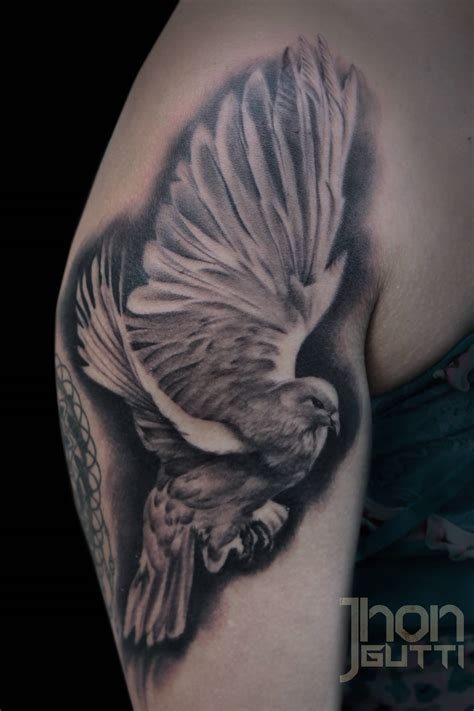 dove with rose tattoo 35 realistic dove tattoos ideas