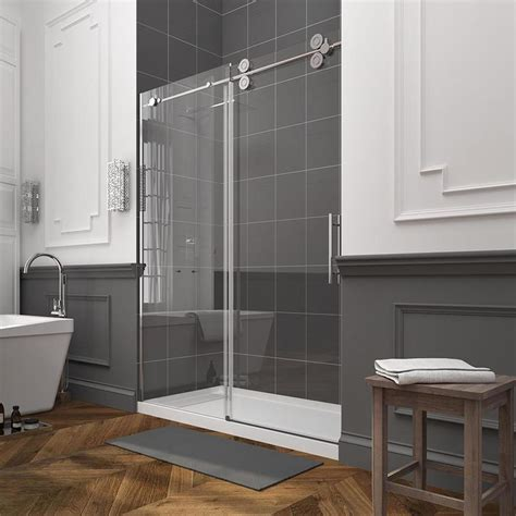 Lowes Shower Doors Sliding Shop Ove Decors Sydney 56 In To 59 In W Frameless Polished Chrome Sliding Shower Door At Lowes