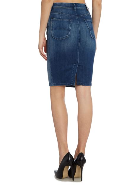 armani denim pencil skirt in blue lyst