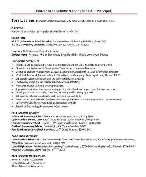 Exle Resume Elementary School To Principal Principal Resume Template 5 Free Word Pdf Document Downloads Free Premium Templates