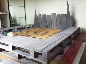 Wood Bed Frame Setup Upcycled Floorboard Becomes Headboard Pallet Bed 1001