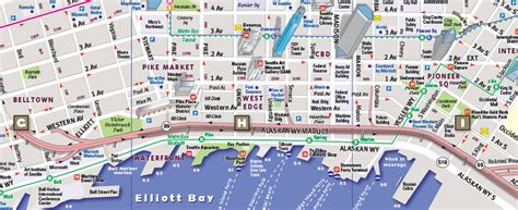 seattle map with attractions seattle tourist map images