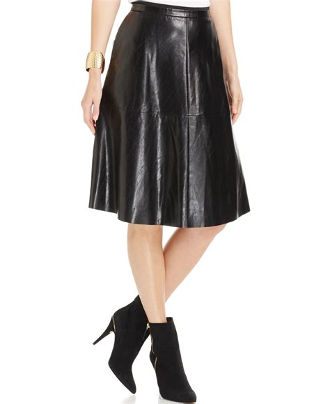 vince camuto faux leather a line skirt in black lyst