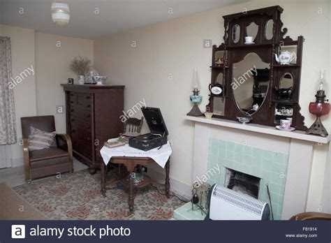 old fashioned living room old fashioned living room british 1950s style stock photo