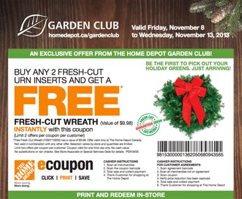 Garden Of Coupons Printable by The Home Depot Canada Garden Club Buy 2 Fresh Cut Urn