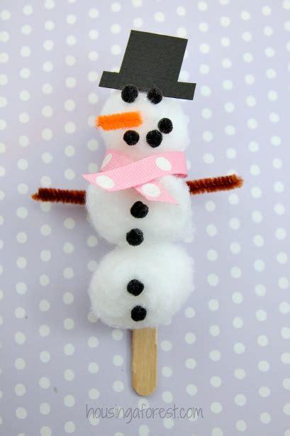cotton ball snowman printable template homemade christmas decorations for kids to make popsicle