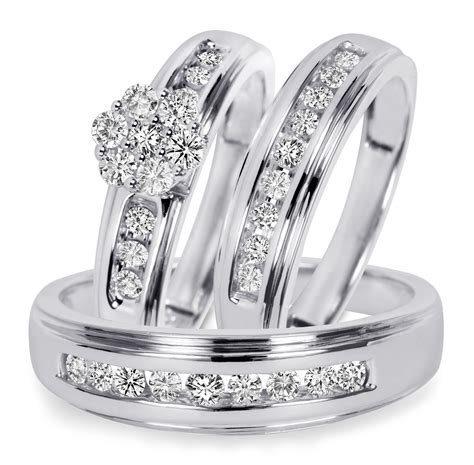 3 4 ct t w trio matching wedding ring set 14k