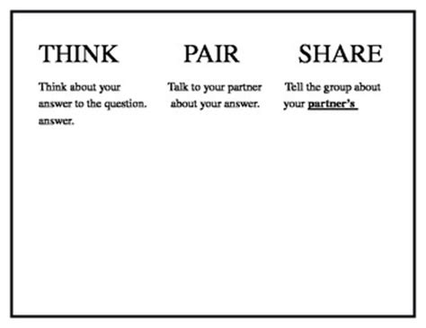 think pair template think pair anchor chart by dianna y teachers pay