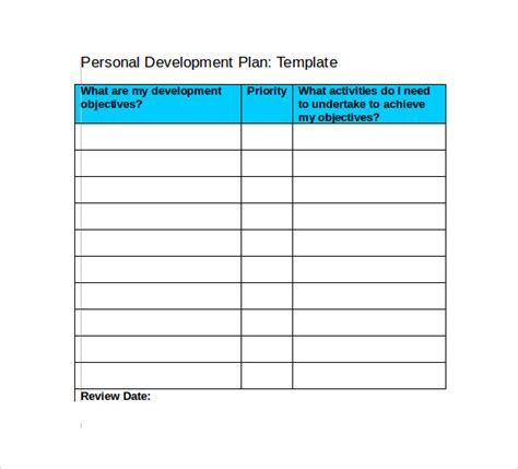 Development Plan Template Cyberuse Personal Wellness Plan Template