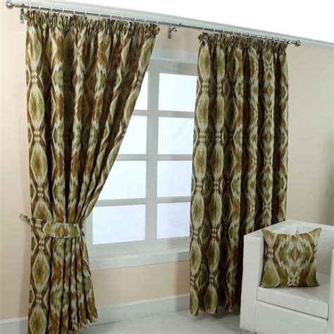 geometric curtain pencil pleat fully lined ready made jacquard curtain