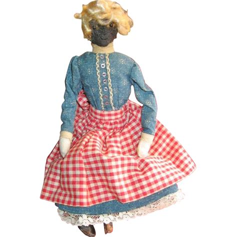 Handmade Primitive Dolls - handmade primitive black mammy doll from joyland on