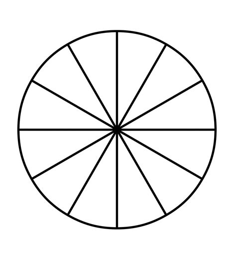 Sections Of A Circle by Fraction Pie Divided Into Twelfths Clipart Etc