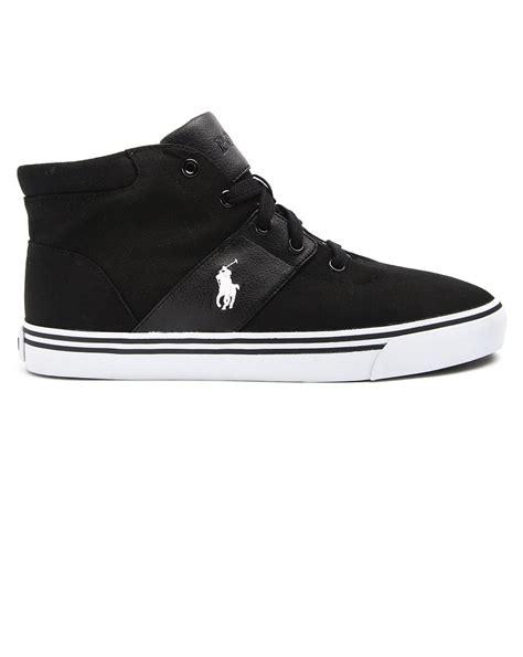 black polo sneakers polo ralph henderson black canvas sneakers in black
