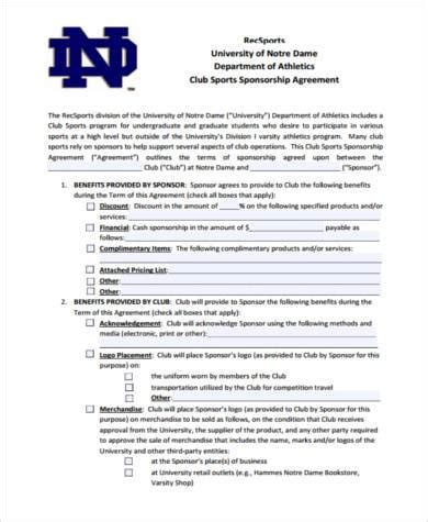 Sle Sponsorship Agreement Forms 8 Free Documents In Pdf Softball Sponsorship Form Template