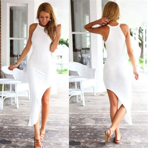 Irreguler Casual Dress White Size L 2015 new fahion summer dress white dress irregular hem dress casual sleeveless