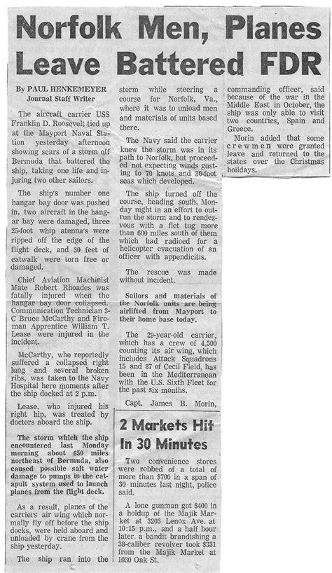 Newspaper Articles – USS Franklin D. Roosevelt