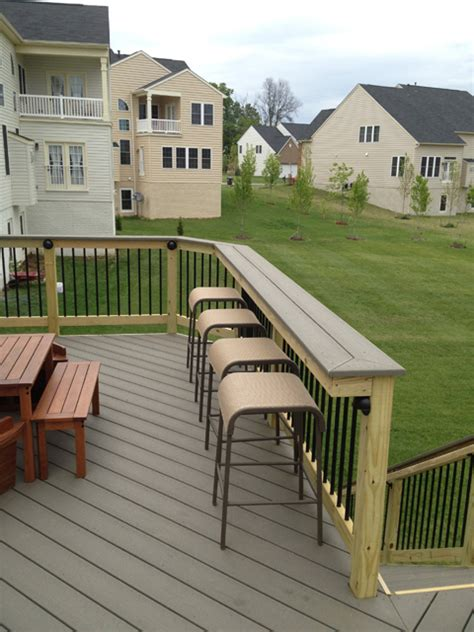 deck bar on cedar deck deck railings and