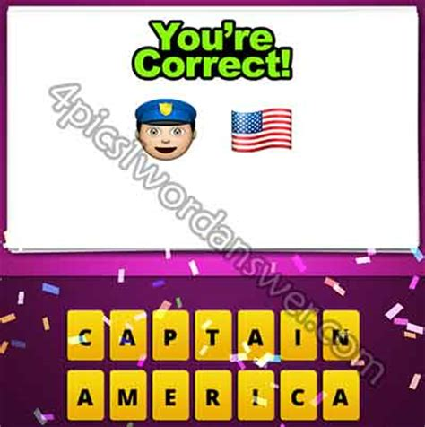 guess the emoji cop and american flag | 4 pics 1 word game
