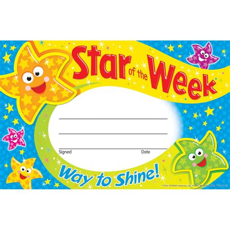 star of the week way to shine reward certificate from