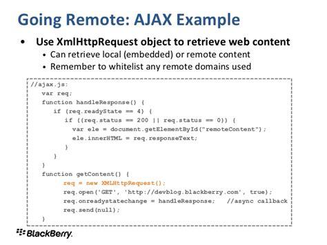 tutorial xmlhttprequest webworks development for blackberry playbook and smartphones