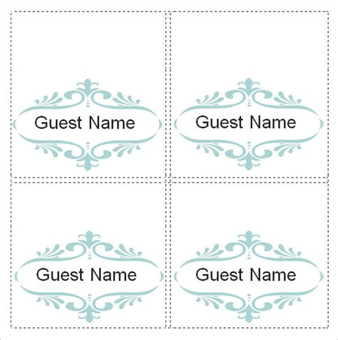 free name card template microsoft word sle place card template 6 free documents in
