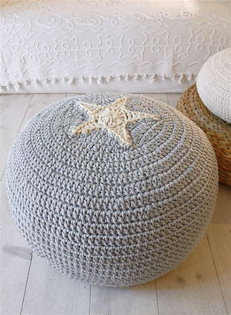 grey pattern pouf pouf crochet star ecru and gray grey ottomans and patterns