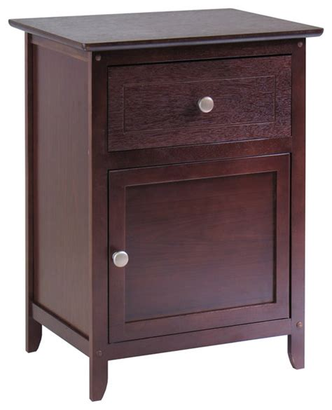 Accent Nightstand winsome nightstand accent table with drawer and cabinet in antique walnut transitional