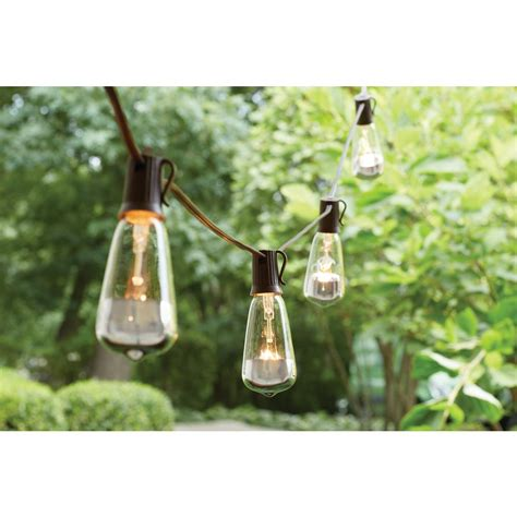Edison Bulb Patio String Lights 15 Light Brown Rattan String Light 15 Count Kf110005 The Home Depot