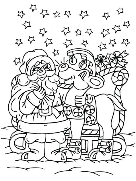 santa and his reindeer coloring pages new calendar