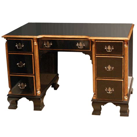 federal style black and gold lacquer desk at 1stdibs