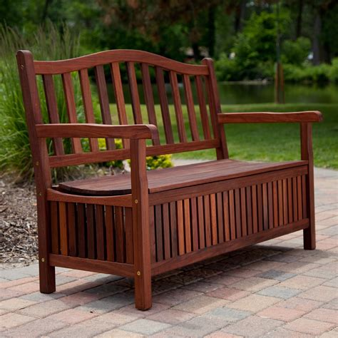 outdoor bench with storage belham living richmond 51 in curved back outdoor wood 30 gallon storage bench