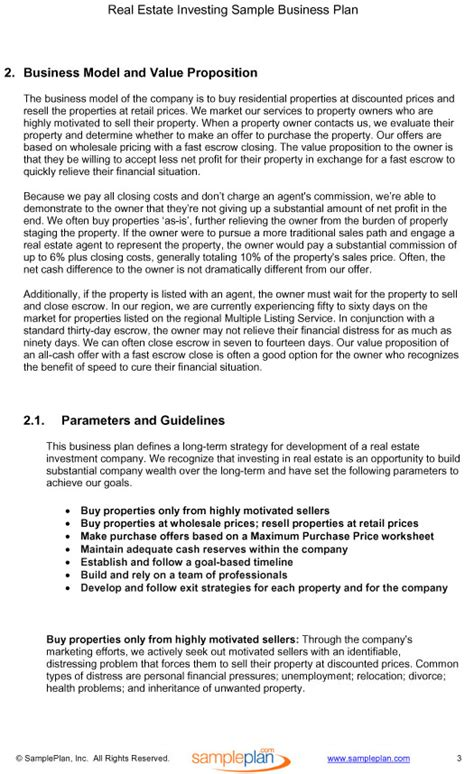 real estate investing business plan excerpt determining