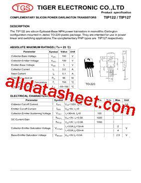 transistor tip122 datasheet pdf tip122 datasheet pdf tiger electronic co ltd