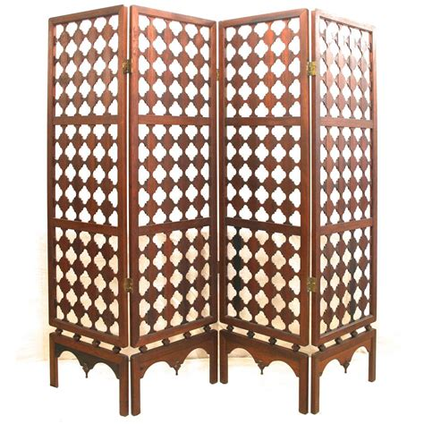 Vintage Four Panel Highly Carved Wood Room Divider Screen Carved Wood Room Divider