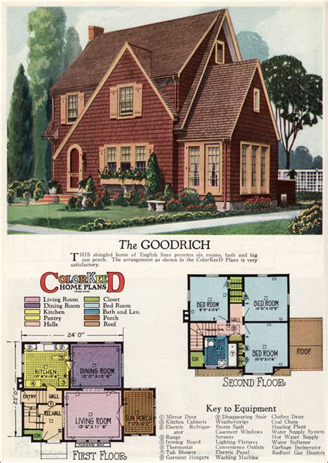 Small Cape Cod House Plans by 1927 Goodrich English Revival Cottage William A