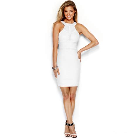 Guess Dress Spandek guess paneled sheath dress in white lyst