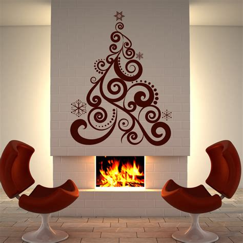 xmas tree christmas wall art sticker wall decal transfers