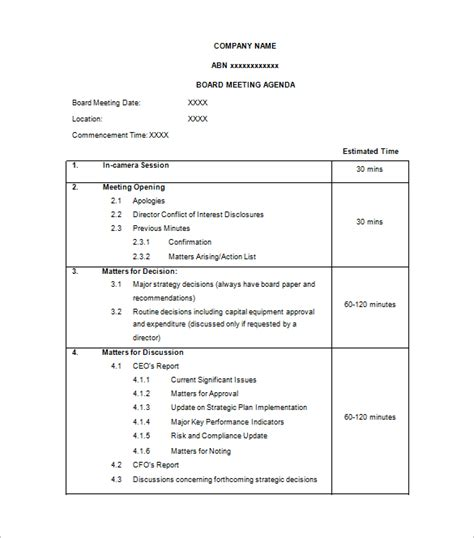 directors meeting agenda template agenda template 24 free word excel pdf documents
