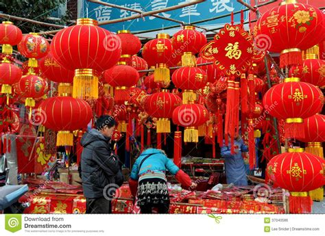 new year period in china pengzhou china shopping for decorations editorial